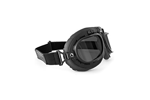 Marco: Mat Negro Ajustable y elástico diadema en negro–para un asiento estrecho para garantizar a cualquier casco abierto Vasos de policarbonato inastillable 2.2mm.–100% de protección UV Vintage Style con curvos de lentes Old Style gafas para Harley Davidson y choppers