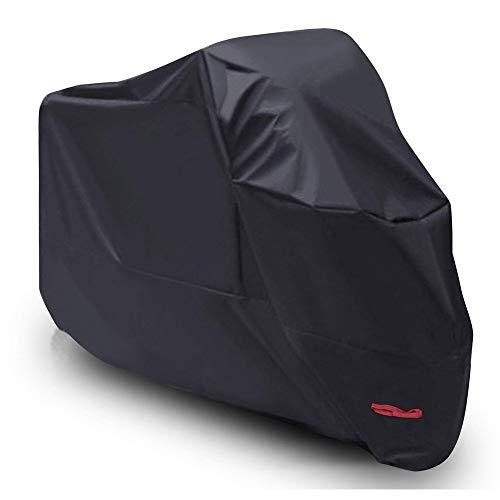 【Durable Waterproof Material Precise Stitched Seams】Hecho de material de tela Oxford 210D con revestimiento impermeable de PU, que protege sus Motos, Scooters de Movilidad o Bicicletas contra la lluvia, la nieve, el sol, el polvo y los escombros 【Adecuado para las variedades de modelos de vehículos】El tamaño universal - 265cm * 125cm * 105cm - Se adapta a motocicletas de hasta 250 cc (para motocicletas de hasta 104in/265cm de longitud). Adecuado para la mayoría de las motos, como BMW, Honda, Yamaha, Suzuki, Harley, Kawasaki, etc. 【Diseño a prueba de viento】Con dobladillos elásticos en el área de las ruedas delanteras y traseras de esta cubierta, y hebilla en el medio, mantenga la cubierta en su lugar incluso con fuertes vientos 【Agujeros antirrobo de tela】Diseñados con los agujeros de tela en lugar de anillos de metal, no tiene que preocuparse de que los anillos de metal se desprendan u oxidados 【Fácil de transportar y almacenar】Viene con una bolsa de almacenamiento con una cuerda de dibujo