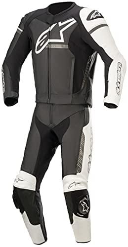 Alpinestars GP Force Phantom - Traje de piel para motocicleta, 2 piezas, color negro, blanco y gris