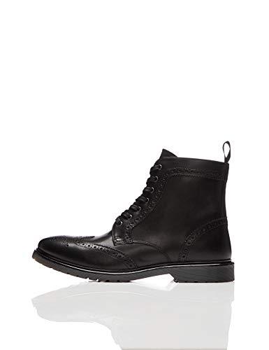 find. Leather Cleated Brogue Botas Estilo Motero, Negro Black, 41 EU