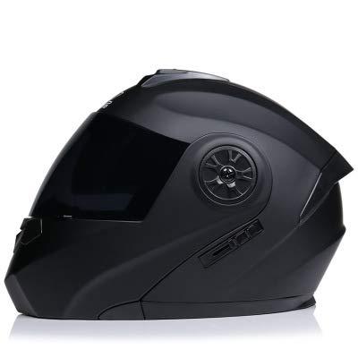 AYYSHOP Casco De Moto Integral, HD Visera Antiniebla Abatible Casco De Moto para Motocicleta, Flip Cara Moto Casco De Cuatro Temporadas Dot Homologado,Black with Tea Mirror,L