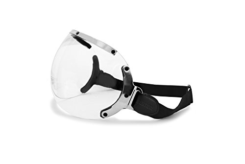 Pantalla aerodinámica contra el viento - universal - compatible con la mayoría de cascos moto en el comercio Perfil interno de esponja para no rayar el casco Montura de acero inoxidable cromado Elástico Regulable Lente trasnsparente 2,4mm en polycarbonate