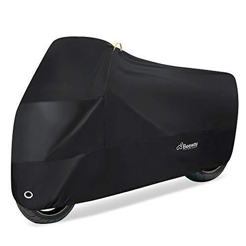 Adora a tus motos al igual que tu coche BMW: si decides no gastar demasiado dinero en los daños causados por lluvia fuerte, la nieve, el polvo, los arañazos y el sol, debes aprender cómo proteger a tu preciosa moto. La funda para motos de Beeway proporciona una excelente protección en interior y exterior para tu moto. Protección durable e impermeable: La funda para motos de Beeway está hecha de material de nailon 190T impermeable con revestimiento de poliuretano. Anti-UV/impermeable/a prueba de polvo, protege bien a tu moto de cualquier arañazo. Permanece colocada durante fuertes vientos: Frente elástico, mediana, dobladillos posteriores y habilla en la parte trasera para mantener la cubierta en su lugar durante fuertes vientos. Dos orificios de cierre en la zona de la rueda delantera se pueden utilizar con tu moto para una doble de seguridad contra el robo de la moto a la vez que proporciona una protección adecuada contra las condiciones climatológicas adversas. Lo suficientemente grande para la mayoría de motos: Adecuada para la mayoría de motocicletas menores a 240cm de largo. Las dimensiones son de: 240cm L x 100cm Al x 100cm A1 x 60cm A2. (Mide tu moto antes de realizar el pedido, si necesitas una funda más grande, elige asin: B01NBMXACI 290cm de largo) Fácil de empacar: Ligera y fácil de guardar cuando no esté en uso. Incluye bolsa de almacenamiento con un cordón.