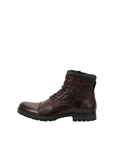 JACK & JONES JFWALBANY Leather STS, Biker Boots Hombre, Marron(Brown Stone Brown Stone), 41 EU