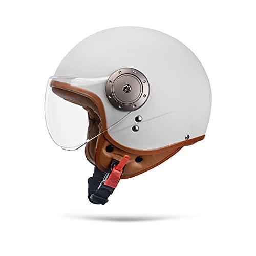 Boseman Cascos De Motocicleta para Hombres y Mujeres, Cascos De Ciclomotor con Viseras.El Cabezal Anticolision Protege La Seguridad Vial De Los Usuarios(Blanco)