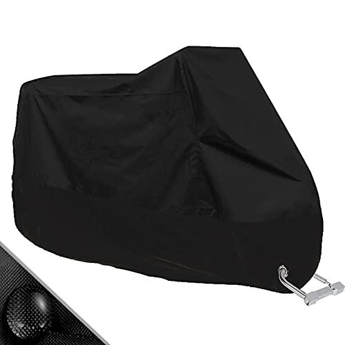 Protector Cubierta de moto: si decides no gastar demasiado dinero en los daños causados por lluvia fuerte, la nieve, el polvo, los arañazos y el sol, debes aprender cómo proteger a tu preciosa moto. La funda para motos proporciona una excelente protección en interior y exterior para tu moto. Protección durable e impermeable:190T Impermeabilice la tela del poliester con la capa 50+ UV (uso diario).Anti-UV/impermeable/a prueba de polvo, protege bien a tu moto de cualquier arañazo. Lo suficientemente grande para la mayoría de motos: Adecuada para la mayoría de motocicletas menores a 245 cm de largo. Las dimensiones son de: 245 cm L x 105 cm x 125 cm. Diseño de ranura de seguridad: 3.8 cm de diámetro, Dos orificios de cierre en la zona de la rueda delantera se pueden utilizar con tu moto para una doble de seguridad contra el robo de la moto Fácil de empacar: Ligera y fácil de guardar cuando no esté en uso. Incluye bolsa de almacenamiento con un cordón.