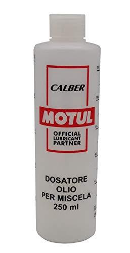 Motul - Medidor dosificador de aceite para mezcla de 250 ml con tapón, escala graduada y porcentajes 2-4%, 2,5-5%, 3-6%