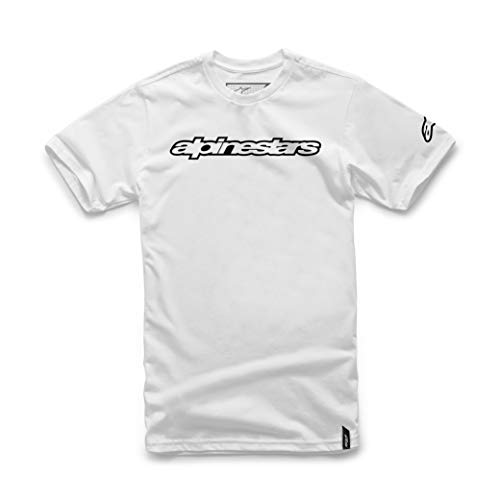 Alpinestar Wordmark tee Camiseta de Manga Logo de Corte Moderno, Hombre, White, M