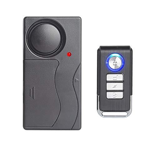 Mengshen Alarma de Vibracion Inalambrica, Alarma Antirrobo para Bicicleta/Motocicleta/Automovil/Vehiculos/Puerta/Ventana, 110db de Voz Alta (Control Remoto Incluido)