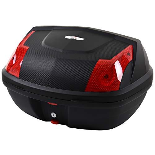 HOMCOM Maletero de Scooter Baul de Moto para 1 Casco Integral y 1 Medio Capacidad de 48L Fibra de Carbon Cerradura con 2 Llaves Accesorios 58x44,5x33,5 cm Negro