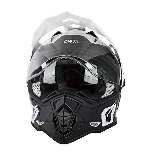 O'NEAL | Casco de Moto | Moto Enduro | Aberturas de ventilacion para un maximo Flujo de Aire y refrigeracion, Carcasa ABS, Visera Solar integrada | Casco Sierra R | Adultos | Blanco Negro | Talla L