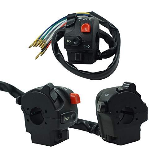 Función: adecuado para Honda, Suzuki, Yamaha, Kawasaki, KTM, Ducati, Aprilia, Vespa, Kymco, Piaagio, Agusta, BMW Motocicletas / Scootors / Dirt Bikes / Quad / ATVs / Banshee / Polaris El paquete incluye: interruptor de 1 pieza Tipo de producto: Botones multifunción de motocicleta Interruptor de manillar de 7/8