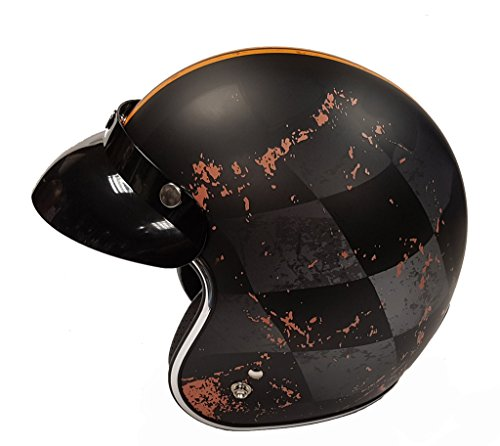 Casco delgado RS-05, casco de viaje abierto. Diseño de ajuste delgado, equipado con pico extraíble y aprobado por ECE22.05. Sujeción y peso del cinturón de seguridad: 1150 +/- 50g. Disponible en colores: Chequer, Negro mate, Route 66, Moho Clásico Mate, Blanco. Disponible en tamaños: XS-XL
