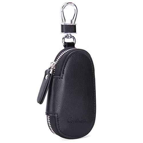 Contactos Estuche para llaves de coche en piel autentica con llavero llavero para hombre y mujer negro