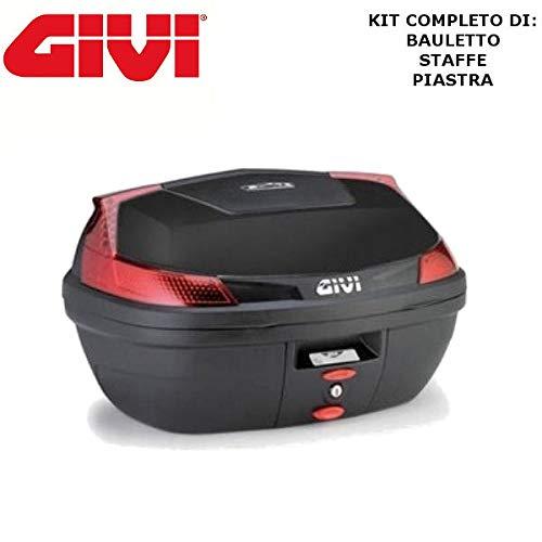 Givi - Baúl de 47 litros B47NML + Enganche SR5600M Monolock para Piaggio MP3 Yourban 125 2011 2018 con catalizadores Rojos