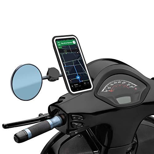 Montaje y desmontaje en menos de 3 segundos sin herramientas; bolsa de almacenamiento para llevarlo todo a todas partes El sistema magnético soporta hasta 9 kilos. Contra aceras, adoquines, reductores de velocidad o alta velocidad, no se mueve Se adapta a todos los espejos de scooter y motocicleta gracias a sus dos tipos de sujetadores, incluyendo una correa de silicona Compatible con todos los teléfonos gracias a sus 2 tamaños de bolsillo Protege su teléfono de la lluvia mientras mantiene la pantalla táctil receptiva