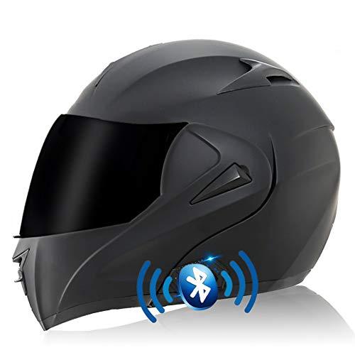 [AURICULARES BLUETOOTH MULTIFUNCIONALES] El casco de motocicleta con auricular Bluetooth se puede emparejar con un teléfono móvil. Escuche música, responda automáticamente llamadas y otro contenido, fácil de instalar, sistema estéreo de alta calidad, carga USB portátil, 2.5 horas de carga, 400 horas modo de espera, para que pueda cambiar sin problemas entre llamadas y música mientras conduce. [SISTEMA DE VENTILACIÓN] El casco abatible tiene forro extraíble y lavable, forro de presión 3D de alta calidad, suave al tacto, transpirable y cómodo, forro de malla, efectos desodorantes y antitranspirantes. Las viseras antivaho pueden brindarle una visión clara . [AERODINÁMICA] El casco abatible equilibra la entrada de aire frontal, aspira el flujo de aire antes y después de la ventilación de extracción de presión negativa, hace que los usuarios se sientan cómodos y secos. Cuando el casco está cerrado, el diseño cerrado puede reducir el impacto del ruido del viento en usted mientras conduce. [CASCO DE MOTOCICLETA PROFESIONAL] El casco de moto cumple con el estándar ECER 22.05. Necesita bicicletas de calle, autos de carrera, cruceros, scooters, motocicletas bicicletas scooters karting ATV rally racing esquí alpino, etc. [SERVICIO Y GARANTÍA] DYOYO es totalmente responsable de todos los productos DYOYO, si no está satisfecho con nuestro producto por cualquier motivo en cualquier momento, comuníquese con nuestro equipo DYOYO de inmediato y lo haremos de manera correcta e inmediata.