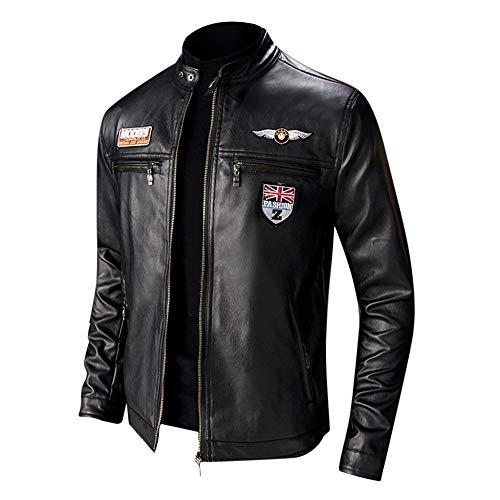 Hombres Chaqueta Moto Invierno Chaqueta Cuero Delgada Moda Manga Larga Gran tamano Abrigo Casual Jacket con Cremallera Parka Pullover RIOU