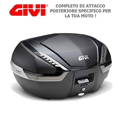 Givi - Baúl de 47 l V47NNT + Enganche SR5600 Monokey Piaggio MP3 Yourban 300 2011 2018 con inserción de Carbono y catalizadores ahumados