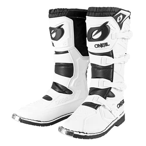 O'NEAL | Botas de Motocross | Moto Enduro | Comodidad gracias a la manga de malla de aire, hebillas ajustables, material sintético de Perdurable | Botas Rider Pro | Adultos | Blanco | Talla 44