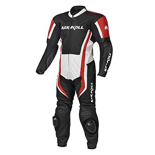 Traje de piel para motocicleta con protección rígida perforada y certificado CE, ideal para viajes largos/turismo/bici, rojo, M