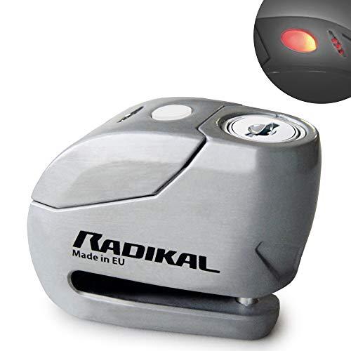 Radikal RK9Z Candado Antirrobo Moto Disco Alarma 120 dB + Warning, o6, Fabricado en Europa, INOX, 6