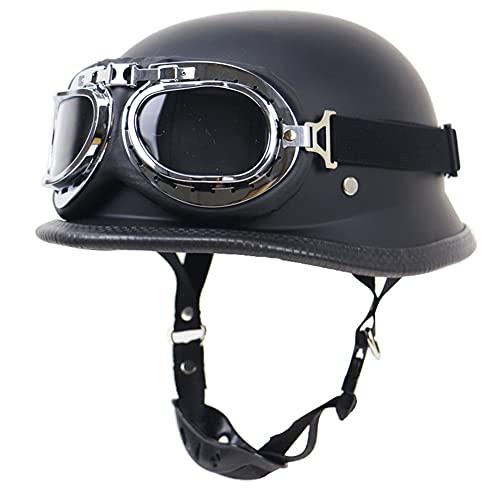 [Motocicleta Dot Helmets]: Este medio casco de moto cumple con D.O.T. Estándares de seguridad, hechos de material liviano y de alta calidad, resistente a golpes, resistente a la penetración y excelente efecto de amortiguación. [Cómodo]: el casco ofrece un forro transpirable que absorbe la humedad, comodidad de alta gama, una combinación perfecta de peso y estabilidad durante la conducción. [Hebilla de liberación rápida]: el casco de motocicleta retro ofrece una correa de barbilla ajustable y una hebilla de liberación rápida que es cómoda y fácil de abrir. [Casco para adultos]: con el diseño pequeño, liviano y repleto de funciones de medio casco. Es el casco de moto ideal para aquellos que buscan un casco elegante más cómodo. [Multiusos]: el casco de motocicleta es adecuado para adultos, tanto hombres como mujeres. Perfecto para bicicletas, motocicletas, motos de crucero, carreras, helicópteros, ciclomotores, scooters, giras y otros usos.