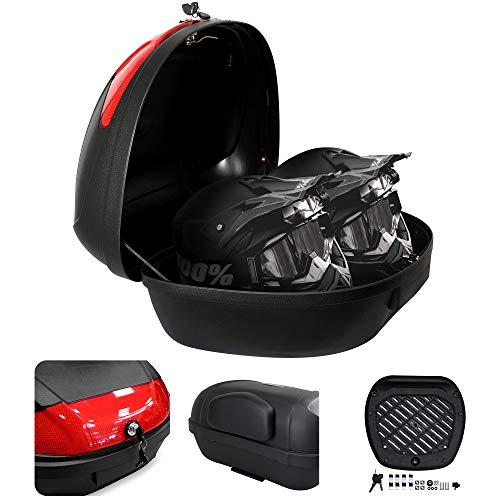 Todeco - Top Case Universal, Maletín para Moto - Material: PP - Tamaño: 59,5 x 43,5 x 31 cm - Negro, 52 Litro(s), with Back Pad