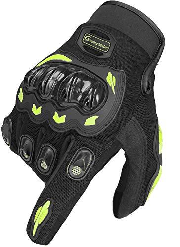 Ligero y duradero con una articulación rígida en forma de TPU, protecciones de goma de PVC y almohadillas SBR, proporciona protección para los nudillos, las articulaciones y la palma. Cómodo de usar, hecho de Lycra y material de microfibra, gancho ajustable, ajuste cómodo y destreza y flexibilidad para las manos. Toque la función tanto en el pulgar como en el dedo índice, use el teléfono sin quitarse los guantes. La función antifricción y anticolisión de los guantes absorbe abrasiones, arañazos e impactos. Bellamente acolchado y de moda que busca cuero de calidad y tela reflectante cosida en guantes, de manera segura por la noche. Guantes versátiles para motocicletas, bicicletas, ciclismo, tiro, senderismo, senderismo y otros deportes al aire libre.