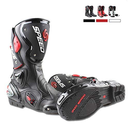 Botas de moto de Pista Racing profesionales antideslizantes transpirables e impermeables 43 EU Negro