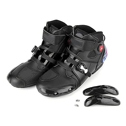 Gorgeri Botas de moto, Botas de vestir de moto Hombre Suave Cómodo Protector antideslizante transpirable Zapatos de moto(46-Negro)