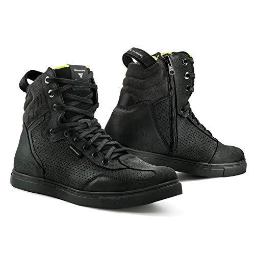 SHIMA Rebel WP, Impermeables Zapatos Moto Hombre | Transpirables, Reforzados Zapatos Moto de Cuero, Soporte para el tobillo, Suela Antideslizante, Mango de Cambio de Marchas (Negro, 43)
