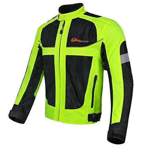 Protección extraíble, transpirable, alta visibilidad nocturna. Recubrimiento de malla transpirable, transpiración rápida. Impermeable La chaqueta ideal para los que viajan en moto de noche pero también de día para garantizar su seguridad. Recomendamos pedir un tamaño más grande