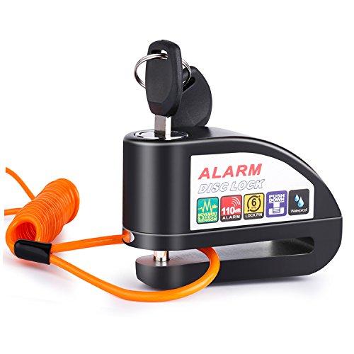 Uolor Candado Disco Moto con Alarma 6mm 110DB Dispositivos Freno Antirrobo Alarma Impermeable Motocicleta Bicicleta Scooter con Cable Enrollado 1.5M