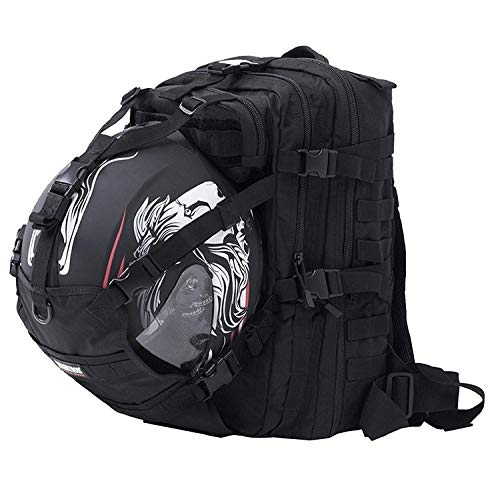 900D waterproof fabric, but the zipper is not waterproof Backpack exclude helmet,basketball,waterbladder,but fit full face helmet,basketball,seibertron 2L water bladder and so on. High strength thicken alloy zipper, Molle system backpack Can be used as a Hydration Bladder Backpack Fit different types of sports full face or half face helmet, basketball and so on.