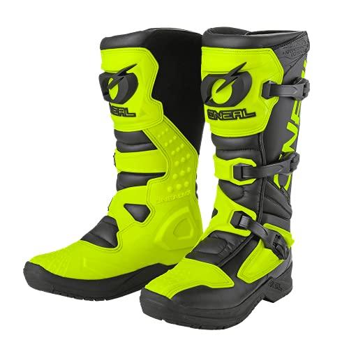 O'NEAL | Botas de Motocross | MX Enduro | Protección interior de tobillos, pies y zona de cambio, forro perforado | Botas RSX | Adultos | Negro Amarillo Neón | Talla 43