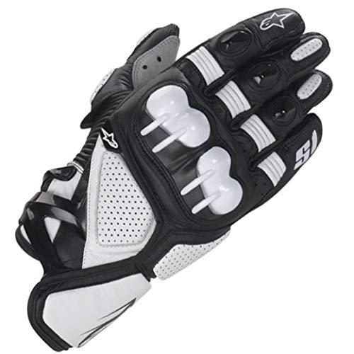 S1 Guantes de Cuero para Moto Anti-caida Antideslizante Respirable Guantes Llenos de Dedos para Equitacion al Aire Libre, Equipamiento Profesional de Carreras,White,L
