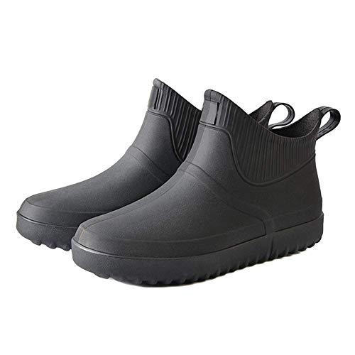 iSunday Hombre Goma Lluvia Zapatos sin Cordones Impermeable Tacon bajo Tubo PVC Lluvia Botas Trabajo - Negro, 43