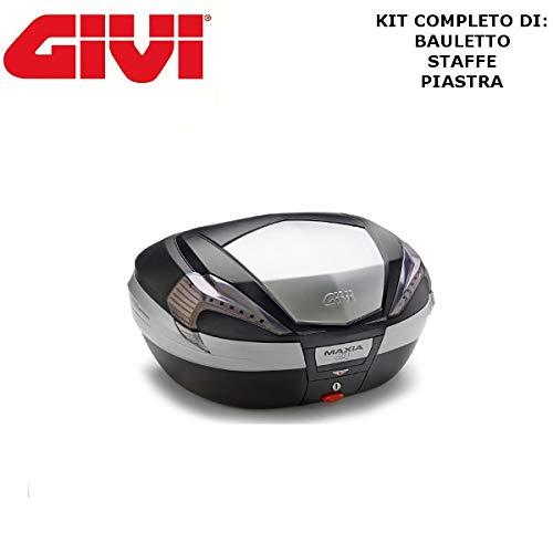 Baúl V56NT + Enganche SR5600 Monokey Piaggio MP3 Yourban 300 2011 2018 Givi de 56 l Maxia 4 catalizadores de Humo y Acabado de Aluminio