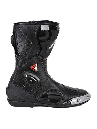 Bohmberg - Botas de moto, botas de piel deportivas, impermeables, de cuero estable protectores rigidos integrados - 45