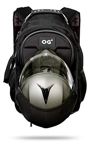HASTA DOS CASCOS: Equipada con el Sistema Pionero DHT, dispone de tres formas diferentes para transportar el casco de motocicleta, incluso dos simultáneamente. En la malla elástica ajustable incorporada, en el interior expandible de 30 a 35L y/o enganchado a la correa casco de enganche fácil y rápido. FIABLE Y SEGURA: Correa de pecho y de cintura ajustables. Compartimento acolchado y espacioso para portátil de hasta 17 pulgadas. Conexión USB/Auriculares. Numerosos compartimentos interiores y bolsillos adicionales en el exterior. Dotada de tiras reflectantes para una conducción nocturna más segura. VERSÁTIL Y ELEGANTE: Es un complemento de moda perfecto con su estilo urbano casual y su tamaño expandible la hacen un accesorio ideal para el día a día tanto como equipaje de mano para llevar en avión como para el trabajo y/o escolar, etc… RESISTENTE Y CÓMODA: Fabricada de poliéster Oxford 900D con acabados de calidad al detalle, duradero, resistente al agua y al desgaste. Equipada con funda extraíble impermeable para casos de lluvia extrema, asa reforzada y respaldo con panel EVA de diseño ergonómico. GARANTÍA DE SATISFACCIÓN 100% – Si no está satisfecho con el producto reemplazaremos o reembolsaremos su compra sin compromiso. Garantía de DOS AÑOS sólo sujeta a compras hechas a través de vendedores autorizados.