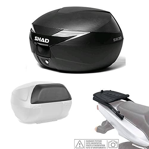 Kit-shad-369 - Kit fijacion y Maleta baul Trasero + Carbono + Respaldo Pasajero Regalo sh39 Compatible con Piaggio mp3 yourban 2011-2016
