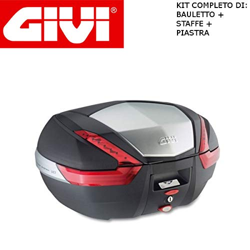 Givi - Baúl de 47 l V47N + Enganche SR5600 Monokey Piaggio MP3 Yourban 300 2011 2018 con Acabado de Aluminio y catadióptricos Rojos