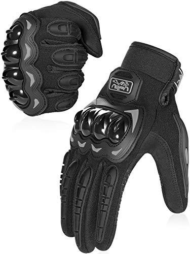 Guantes de exterior: ideales para carreras de motos, para andar en quad, MTB, motocross, escalada, entrenamiento, etc. Diseño de las yemas de los dedos apto para pantallas táctiles: contiene fibras metálicas conductoras en los dedos índice y pulgar, funciona con todos los dispositivos con pantalla táctil. Protección completa: con protección de nudillos y almohadilla de palma, ofrece una gran protección para su mano. Perfecto agarre y control: diseño decorativo de gel de silicona resistente al desgaste en la parte de la palma, que aumenta el agarre del manillar. Cómodo y transpirable: hecho de material transpirable, con salidas de aire para un mejor flujo de aire, adecuado para usar en todas las estaciones.