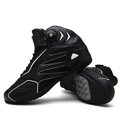 F-DYZS Botas Moto Racing Estilista Corto Bota del Tobillo, Zapatos de rotacion de la Motocicleta Campo a traves, Zapatos Blindados a Prueba de Agua Botas de Cuero de proteccion,A,41