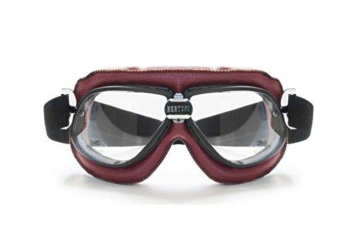 Gafas para moto en piel vintage con costuras de color naranja - Aireadores anti-vaho Los lentes son en policarbonado antichoque 2,2 mm. de espesor Lente transparente con tratamiento 100% UV PROTECCION Correa elastica y ajustable puede ser adaptada a cualquier tipo de casco