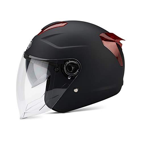 BOSEMAN Casco de Motocicleta con Visera, Adecuado para ciclomotores, Scooters, cruceros, Pase la Prueba de colisión para Cumplir con la Seguridad Vial(Negro Mate)