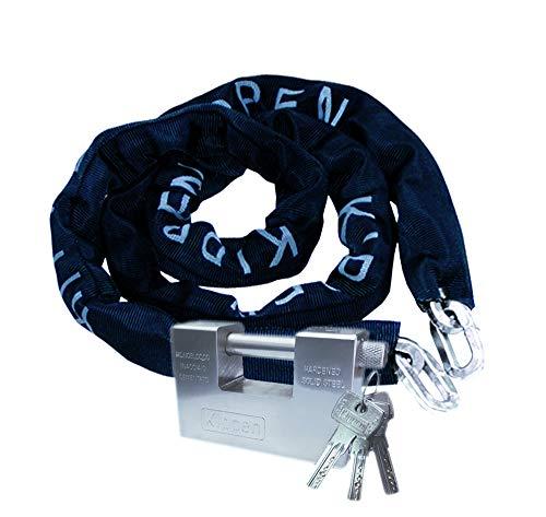 Longitud cadena: 150CM Misura candado: 90mm Tres llaves de incluido