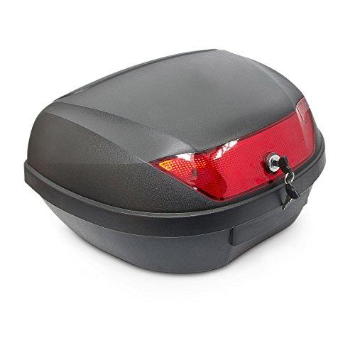 Almacenamiento práctico para tu moto scooter o Con material de montaje incluido. Viene con cerradura y dos llaves. Tamaño: aprox. 32 x 58 x 41 cm. Volumen: aproximadamente 48l, hasta 5kg aproximadamente.