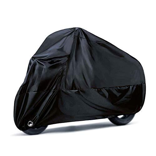 Tamaño: XXL, 245 X 105 X 125 cm. Satisfaga la mayoría de las necesidades de la motocicleta, coche de caballero. Material: tela de poliéster impermeable, a prueba de sol y a prueba de roturas con revestimiento plateado, duradera y de buena calidad Cerraduras y hebilla a prueba de viento: ayuda a bloquear el motor y a una mejor reparación.Las cerraduras de aluminio pueden evitar la oxidación Paquete: equipado con una bolsa de almacenamiento gratuita, muy conveniente para su clasificación y almacenamiento Color: el negro es siempre el color más clásico y de moda, te encantará